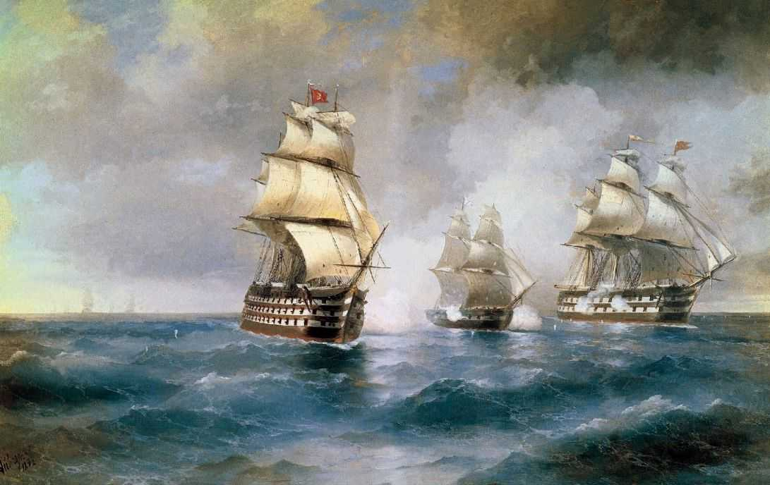 Ivan-Constantinovich-Aivazovsky-xx-Brig-Mercury-attacked-of-two-Turkish-battleships-xx-Private-Collection